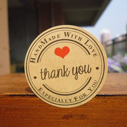 "Wholesale Sticker For Handmade Products - Wholesale- 300pcs New Retro Kawaii HANDMADE ""Thank you""Round Kraft Seal sticker For handmade products Vintage ""Handmade with Love""lable"