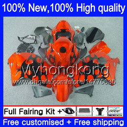 Wholesale Orange Gsxr Fairings - Body Bodywork For SUZUKI Hayabusa GSXR 1300 02 03 04 05 06 07 15LQ0 GSX R1300 GSXR-1300 Orange black GSXR1300 96 97 98 99 00 01 Fairing kit