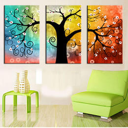 Wholesale print big pictures - 3 panel Canvas Painting Art Oil Tree Painting Colorful Big Tree Painting On Canvas Home Decor Wall Artwork Abstract Wall Art Picture Prints