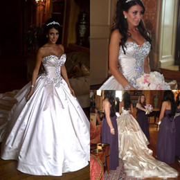 Wholesale Pnina Tornai Ball Gown Dresses - 2016 Elegant Satin Pnina Tornai Wedding Dress Ball Gowns Sweetheart Ivory Sparkly Crystal Beaded Lace Up Chapel Train Bridal Gowns