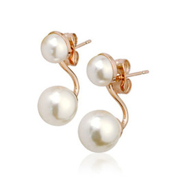 Wholesale Wholesale Products Korea - Korea Natural Pearl Earrings silver Korean models Back Product The wedding Geometry type employee welfare Independent women