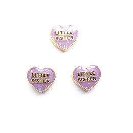 Wholesale Little Sister Charm - little sister in heart charms , floating charms for living locket, 20pcs lot, free shipping--335