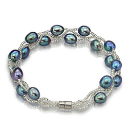 Wholesale Wholesale Pearls Strands - Natural Freshwater Pearls Bracelets AAA 7mm Black And Gray Pearls New Style Women Beaded For girls gifts
