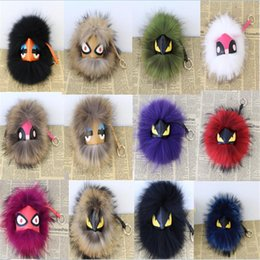 Wholesale Coin Cart - 20 color leather wallet Purse Pom Pom real imp Raccoon fur monster doll keychain charm golf cart bag pendant strap plush keyring15-18cm