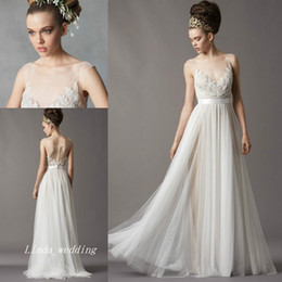 Wholesale Tube Lace Wedding Dresses - Free Shipping New Vintage Charming Sheer Transparent Tube Illusion Scoop Neck Lace Beach Casual Bridal Gown Wedding Dress Redo
