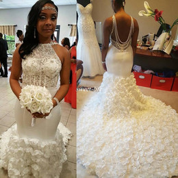 Wholesale Women Winter Flower Skirt - Stunning African 3D Flowers Mermaid Wedding Dresses 2017 Halter Neck Backless Pearls Beads Lace Top Plus Size Custom Made Women Bridal Gowns