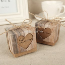 Wholesale Twine Wholesalers - Wholesale-50pcs Wedding Hearts in Love Rustic Kraft Imitation Bark Candy Box with Burlap Chic Vintage Twine Wedding Favor Gift Boxes