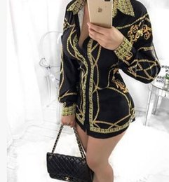 Wholesale Pencil Prints - 2017 new women Casual Shirt dress Fashion Single-breasted blouse Tops Long Sleeve Print Dress sexy Club bandage T shirt dress S-XL