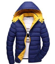 Wholesale Mens Padded Jackets - Wholesale- Mens Winter Jackets 2016 Brand Down Parka Thick Warm Padded Hooded Top Quality Solid Quilted Jacket Male Wadded Zipper Coat 87