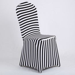 Wholesale Wedding Chairs Covers For Sale - New Products Hot Sale Black and White Stripe Print Lycra Chair Cover Arch Front For Wedding Decoration & Party