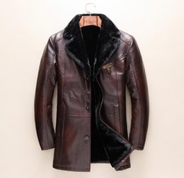 Wholesale Leather Jackets Fur Lining - New Fashion Men's leather Jacket Winter Thacken Warm Coat Embroidery bees Tops Brand G Man Fur Lining Coat Parka