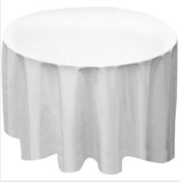 Wholesale White Polyester Tablecloths Round - Wholesale New 9pcs lot Round Polyester Tablecloth Table Cover Cloth White black Yellow for wedding party
