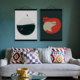 Wholesale Wall Paint Fish - Modern Abstract Kawaii Animals Vintage Cat Fish Wooden Framed Canvas Painting Home Decor Wall Art Print Picture Poster Hanger