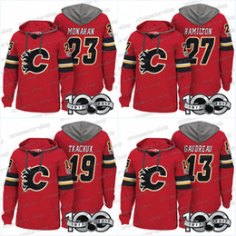 Wholesale T 13 - 100th Calgary Flames Jerseys 27 Dougie Hamilton 7 T. J. Brodie 23 Sean Monahan 13 Johnny Gaudreau Hoodies Jerseys Sweatshirts