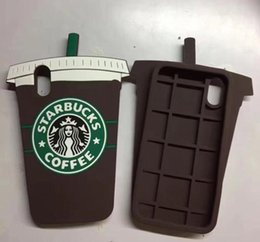 Wholesale Iphone Cases Coffee - 3D Cute Starbucks Coffee Cup Simulation Soft Gel Rubber Silicone Case Cover For iPhone 4 5 5S 6 7 8 Plus iphone X