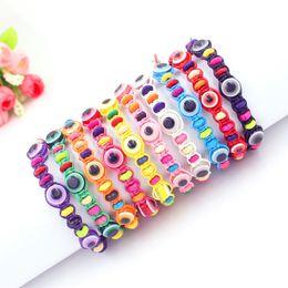 Wholesale lucky charm bracelet for women - 10 Colors Weave Rope String Bracelets Lucky Beaded Hamsa Amulet Acrylic Evil Eye Bracelets for Women Wholesale