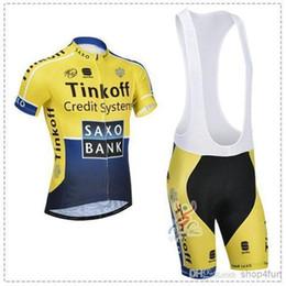 Wholesale Saxo Bank Tinkoff Bib Shorts - 2014 SAXO BANK Cycling jersey bib shorts TINKOFF short sleeves cycling bib jersey set ORANGE YELLOW&BLUE color size XS-4XL for choice
