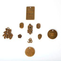 Wholesale fortune necklace - Free shipping New 131pcs lot Zinc Alloy Antique Bronze Plated Character Good Fortune Charms Vintage Tibetan Pendants DIY Bracelet Necklace