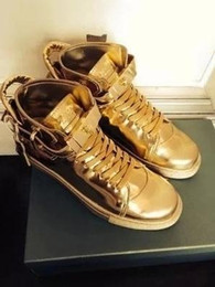 Wholesale Italy Boots Men - Free shipping Italy luxury brand lock leather pebbled high help boot couples men and women shoes 38-46