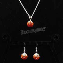 Wholesale Disco Ball Necklace Gradient - Rhinestone Shamballa Set Gradient Orange Disco Ball Pendant Earrings And Necklace For Party 10 Sets Wholesale