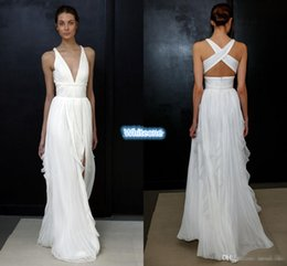 Wholesale Goddess Long Gown - 2017 Sheath Wedding Dresses for Greek Goddess Simple Brides Wear Sale Cheap Long Pleated Split Full Length Skirt Bohemian Boho Bridal Gowns
