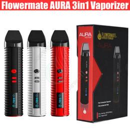 Wholesale E Vapor Dry Oil Wax - Original Flowermate AURA Herbal Dry Herb Vaporizers Starter Kit 2600mAh Oil Wax Vape Pens 1.7ml Huge Vapor Capacity E Cigarettes Kits DHL