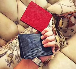 Wholesale Credit Card Bags - With Box logo Paris Premium Red Leather Slender Wallet X Red Black Wallet Genuine Leather Outdoor Sport Bag