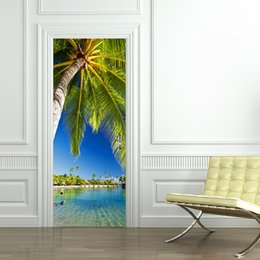 Wholesale door paper - Palm Tree Waterproof 3D Door Mural Sticker Living Room Self-adhesive Imitation 3D River View Wall Sticker Home Decor