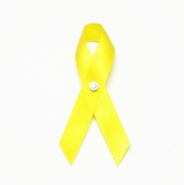 Wholesale Breast Clip - Free Shipping 500pcs Yellow Autism Breast Cancer Aids Cancer Awareness Ribbon with Butterfly Clip