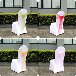Wholesale Wholesale Fabric For Chair Covers - Beautiful Organza Bows For Wedding Chair Sashes For Wed Events Supplies Party Decoration Chair Cover Sash Various Colors To Choose