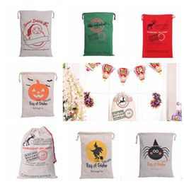 Wholesale Striped Canvas Bag Drawstring - Christmas Halloween Large Canvas Bags Drawstring Bag With Pumpkin, devil, spider, Hallowmas Gifts popular Sack Drawstring Bag KKA587