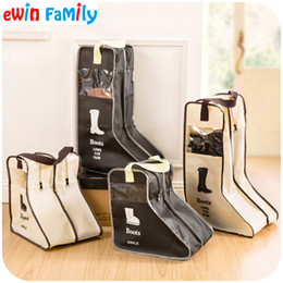 Wholesale Breast Protectors - Wholesale- Portable Big Shoes Storage Bags Hanging Closet Cabin Shoe Cover Boots Organizer Sack Storaging Bag With Zipper Boot Protector
