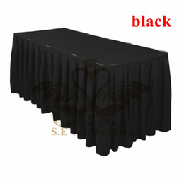 Wholesale Table Skirts Wholesale - Black Color Ruffled Poly Table Skirt Wedding Table Cloth Skirting