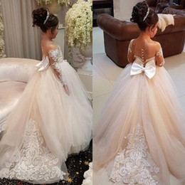 Wholesale Beautiful Wedding Sash - Beautiful Sheer Appliqued Long Sleeves Flower Girl Dresses 2018 Sheer Jewel Neck Princess Girls Formal Pageant Gowns With Big Bow Sash