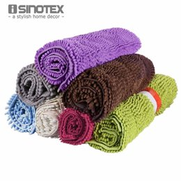 Wholesale Polyester Shaggy Carpets - 19.7''x31.5'' Floor Mat Bath Carpet Soft Shaggy Chenille Anti-slip Footcloth Bathroom Mat Floor Mat 1pcs lot Isinotex Large Size