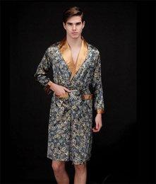 Wholesale Men Polyester Bathrobes - Wholesale-New Fashion Casual Autumn Mid And Long Sleepwear Full Sleeve Bathrobes Luxury Elegant Men Bathrobes