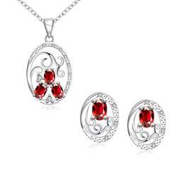 Wholesale Crystal Necklace Sale Online - High grade Sculpture Round 925 silver necklace earring jewelry sets; brand new sterling silver red gemstone set online for sale GTFS136B