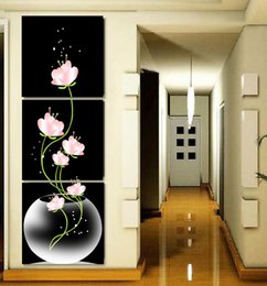 Wholesale Three Panel Modern Art - 3 Pcs Set Abstract Art Modern Wall Paintings FLowers Porch Vertical Decorative Picture Wall Art Top Home Decoration