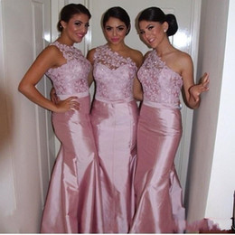 Wholesale Dress Black One - Sexy Pink Lace Mermaid Bridesmaid Dresses One Shoulder Taffeta Backless 2017 Long Custom Made Formal Evening Prom Gowns Maid of Honor Cheap