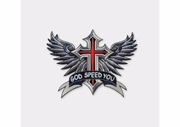 Wholesale Large Iron Patches - Embroidered Iron On Patches Large Punk God Speed You Cross Wing Badge Biker Patches For Clothing