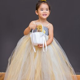 Wholesale Girls Tutu Super Fluffy - Super Fluffy Handmade Wedding Lolita Style Flower Girl Dress Ankle-Length with Golden Flower decoration For Ball Birthday Party All Size