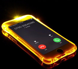 Wholesale Cheap Plastic Iphone Cases - LED Flash Light Up Case Cheap Clear TPU+PC Remind Incoming Call Cover For iPhone 8 7 6 6S Plus 5 5S SE Samsung S8 S7 S6 Edge Plus J7 Prime