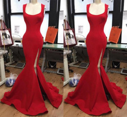 Wholesale Dress Summer Free Side - Red Scoop Neckline Evening Gowns 2017 Side High Split Mermaid Prom Dresses Satin Floor Length Formal Party Dresses Free Shipping