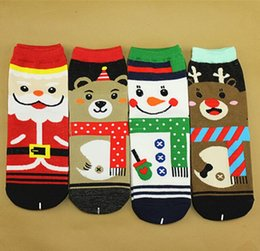Wholesale Ladies Christmas Ankle Socks - Winter Women Christmas Snowman Socks Cartoon Santa Claus Socks Cotton Printed Hosiery Lady Fashion Christmas Squirrel Teddy Bear Gift