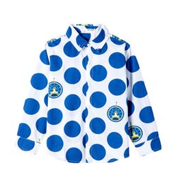 Wholesale Kids Collar Shirts Design - Children Polka Dot Printing Designs Casual Shirts For Big Boys Clothing Kids Long Sleeves Turn-down Collar Shirts Clothes