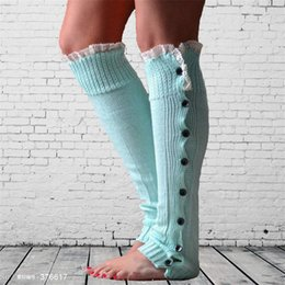 Wholesale Womens Cotton Knee Socks - 2016 christmas leg warmer womens boot socks thigh socks stocking foot socks lace button Leggings foot cover socks knee high socks B937