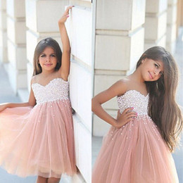 Wholesale First Communion Dress 12 - 2016 Sweetheart A-Line Flower Girl Dresses with Pearls Tulle Knee Length Girls Pageant Dress First Communion Dresses Children Gowns