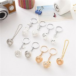 Wholesale Antique Small Key - Cute Antique Silver Alloy Christmas Small bell Key chain Ring For Keys Ring Car DIY Bag Key Chain Handbag Gift Jewelry Material Accessories