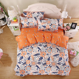 Wholesale full quilts - Wholesale- Summer New Bedding Sets Minimalist Style Orange Sunflower Reactive Printing Bed Sheets Quilt Cover Pillow King Queen Full Twin