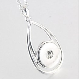Wholesale Drop Charms - NOOSA Water Drop Pendant Charm Necklace 18mm Noosa Chunks Ginger Snap Button Necklaces For Women Snap Jewelry NAB0038